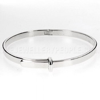 Hinged Silver Belt Bangle - 4mm Solid