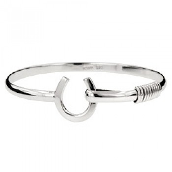 Horse-Shoe Silver Bangle - 4mm Solid