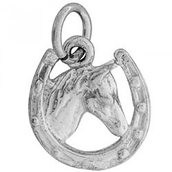 Horse In Shoe Silver Charm