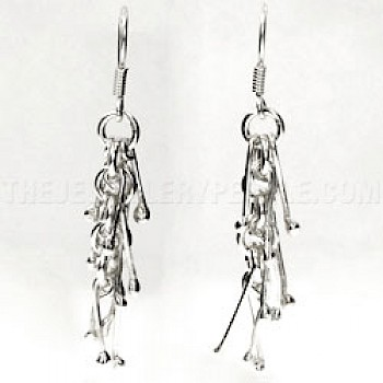 Icicle Silver Drop Earrings - 50mm Long