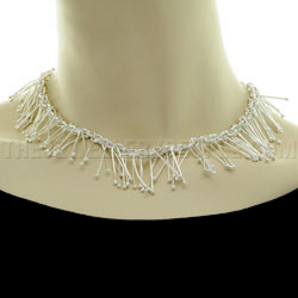 "Icicle Silver Necklace - 16"" long"