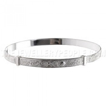 Intricate Patterned Silver Bangle - Large