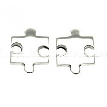Jigsaw Silver Stud Earrings - 17mm Wide