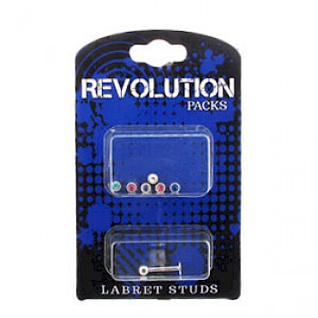 Labret Stud Micro Revolution Pack - 3mm Jewelled Balls