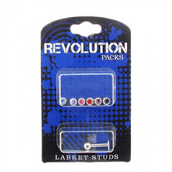 Labret Stud Revolution Pack - 4mm Jewelled Balls