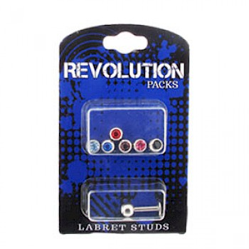 Labret Stud Revolution Pack - 5mm Jewelled Balls