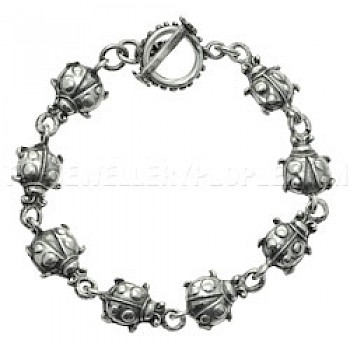 Ladybirds Silver Bracelet - 12mm Wide