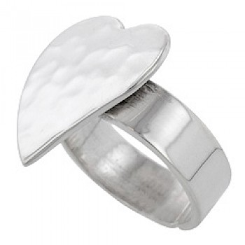 Large Hammered Heart Silver Ring-adjustable