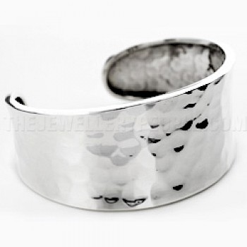 Large Hammered Silver Cuff Bangle - 27mm Wide