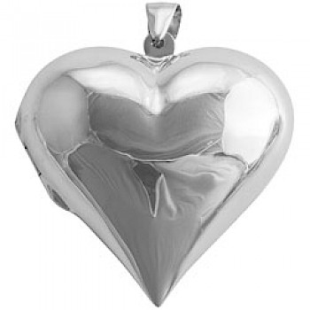 Large Polished Silver Heart Locket - 53mm