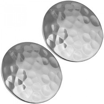 Large Round Hammered Silver Clip Earrings - 24mm