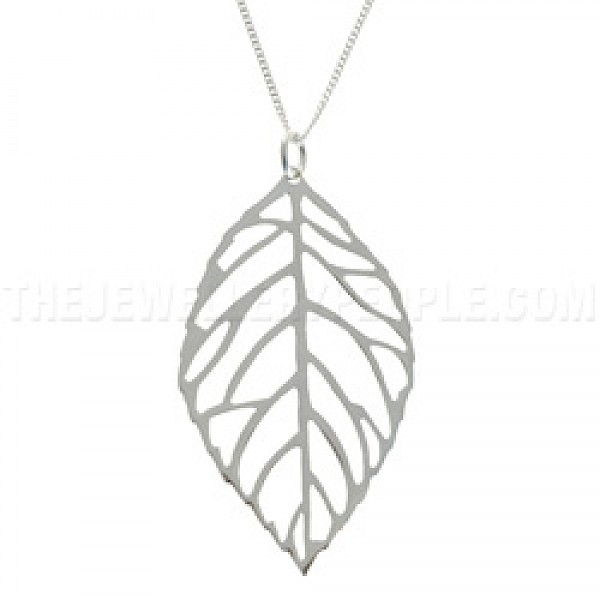 Leaf Outline Silver Pendant