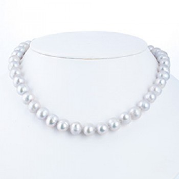 "Light Grey Silver Pearl Necklace - 10mm wide - 18"" long"