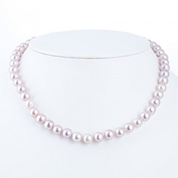 "Light Pink Silver Pearl Necklace - 8mm wide - 18"" long"
