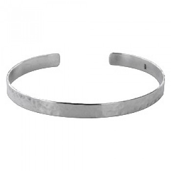 Silver Hammered Open Bangle - 25mm Wide