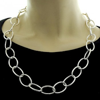 Lightly Stamped Ovals Silver Necklace - Long