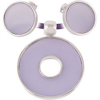 Lilac Circle Earrings & Suede Necklace Set
