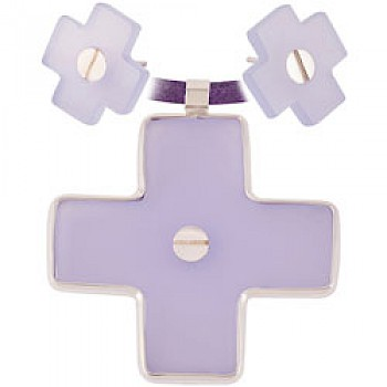 Lilac Cross Earrings & Suede Necklace Set