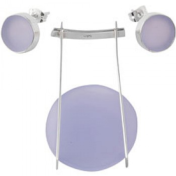 Lilac Round Acrylic Earrings & Suede Necklace Set