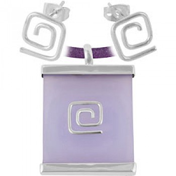 Lilac Square Spiral Earrings & Suede Necklace Set
