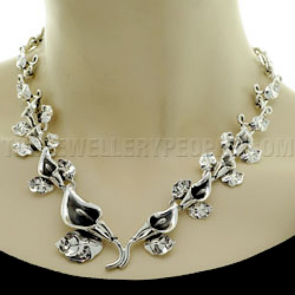 Lily Garland Silver Necklace - Large