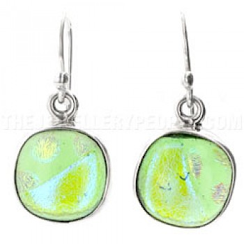Lime Green Dichroic Glass & Silver Round Earrings