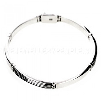 Lines Detailed Hinged Silver Bracelet - 6mm Wide