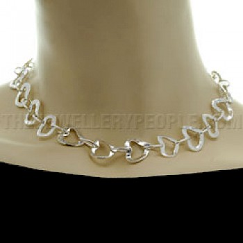 "Linked Hearts Silver Necklace - 17"" long"