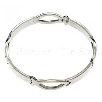 Linked Ichthus Fish Solid Silver Bangle
